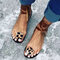 Women Leopard Ring Toe Lace Up Flat Casual Rome Sandals - Brown