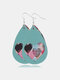 Vintage Drop-Shape Valentine's Day Heart Multilayer PU Leather Earrings - #15
