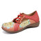 LOSTISY Flower Pattern Elastic Band Round Toe Splicing Retro Casual Flats - Red