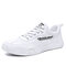Men Casual Lace-up Round Toe Letter Pattern Hard Wearing Canvans Shoes - White Gray