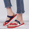 Large Size Color Splicing Clip Toe Cross Strap Flat Beach Casual Sandals - White