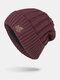 男性冬Plusベルベット刺繡葉縞模様屋外ニット暖かいビーニー帽子 - ワインレッド