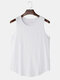 Mens 100% Cotton Breathable Solid Color Casual Tank Tops - White