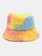 Women Tie-dye Mix Color Lamb Fur Warm Casual Cute Bucket Hat - Pink