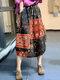 Ethnic Pattern Print Drawstring Waist Vintage Front Pocket Skirts - #02
