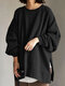 Solid Color Slit Long Sleeve Casual Blouse for Women - Black