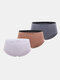 Women Cotton Solid 3Pcs High Waist Seamless Breathable Thin Panties - #03