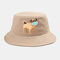Cartoon Animals Quarantined Hat Isolated Pattern Hat Cotton Bucket Cap - Khaki
