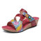SOCOFY Leather Embossed Floral Hook Loop Strappy Stitching Slip-on Wedge Slides Sandals - Red