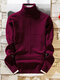 Men High Neck Solid Color Casual Knit Sweater - Wine Red