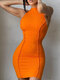 Solid Color O-neck Sleeveless Tight Sexy Dress for Women - Orange