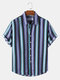Mens Colorful Stripe Button Up Holiday Cotton Short Sleeve Shirts - Blue