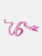 Alloy Vintage Snake-shape Animal Ear Clip Earrings - Pink