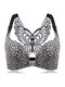 Butterfly Embroidery Front Closure Wireless Adjustable Gather Soft Bras - Silver