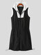 Plus Size Mens Contrast Patchwork Zip Front Sports Romper Sleeveless Drawstring Jumpsuits - Black