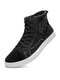 Men Soft Sole Mid Calf Lace-up Knotted Canvas Skate Shoes Lace Up Ankle Boots - Black