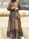 Ethnic Plaid Print Patchwork Long Sleeve Casual Maxi Dress - Yellow