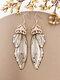 Vintage S925 Sterling Silver Butterfly Long Cicada Wings Gradient Earrings - 36