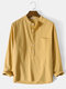 Mens 100% Cotton Basic Solid Color Long Sleeve Henley Shirt - Yellow