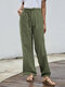 Solid Color Elastic Waist Drawstring Casual Pants - Army