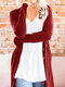 Solid Color Long Sleeve Button Casual Cardigan For Women - Wine Red