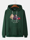 Mens Check Bear Letter Print Cotton Drawstring Hoodies With Pouch Pocket - Green