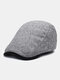 メンズウールピンストライプコントラストカラーハットつばオールマッチ暖かさベレー帽フラットキャップ - グレー