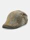 メンズコットンアーガイル柄刺繍スターストライプレザーラベルカジュアルベレーフラットキャップ - アーミーグリーン