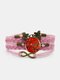Vintage Multicolor Butterfly Pattern Print Butterfly Braided Gemstone Multi-layer Bracelet - Pink