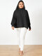 Solid Color High Neck Lantern Sleeve Plus Size Blouse for Women - Black