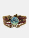 Vintage White Floral Pattern Print Butterfly Braided Gemstone Multi-layer Bracelet - Brown