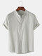Mens Breathable Flax Stand Collar Solid Color Short Sleeve Shirt - Grey