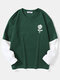 Mens Rose Print Crew Neck Contrast Faux Twinset Doctor Sleeve Casual T-Shirts - Green