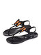 Women Summer Holiday Jelly Shoes Casual Butterfly Pattern Thong Sandals - Orange