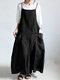 Casual Strappy Bib Cargo Solid Color Dress - Black