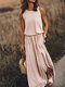 Solid Color Splited Sleeveless Casual Maxi Dress For Women - Khaki