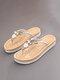 Pantofole infradito per vacanze casual con decorazione perline da donna - Beige