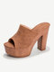 Large Size Women Open Toe Solid Color Suede High Chunky Heels Slippers - Brown