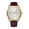 Luminous Pantalla Small Seconds Dial Leather Banda Gold Metal Caso Hombres Reloj de cuarzo