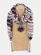 Vintage Chiffon Tassel Women Scarf Necklace Geometric Pendant Flower Leaf Pattern Shawl Necklace - #07