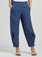 Casual Solid Color Wide-Legged Elastic Waist Pleated Pants - Navy