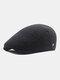 Men Plaid Pattern Adjustable Casual Flat Hat Forward Hat Beret Hat - Black