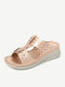 Women Flowers Carved Hollow Decor Casual Slippers Comfy Lightweight Wedges Sandals - Pink