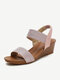 Women Fashion Comfy Soft Wearable Casual Elastic Slip On Wedges Sandals - Pink