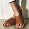 女性中空快適な通気性ノンスリップカジュアルビーチフラットサンダル - 褐色