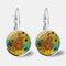 Vintage Geometric Round Oil Painting Series Earrings Metal Glass Gem Daisy Pendant Ear Clips - 6