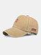Men Washed Cotton Letter Pattern Baseball Cap Outdoor Sunshade Adjustable Hat - Khaki