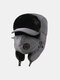 男性防寒冬用トラッパーハットマスクトラッパーハット付き厚手の冬用ハット耳栓 - グレー