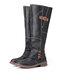 Plus Size Women Metal Buckle Decor Slip On Mid Calf Riding Boots - Black