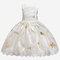 Girl's Dragonfly Print Lace Patchwork Bowknot Princess Dress for 3-11Y - Champagne